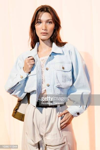 Model Bella Hadid make up detail is seen backstage ahead of the Alberta Ferretti show during Milan Fashion Week Spring/Summer 2019 on September 19...