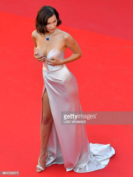 US model Bella Hadid poses as she arrives on May 17 2017 for the screening of the film 'Ismael's Ghosts' during the opening ceremony of the 70th...