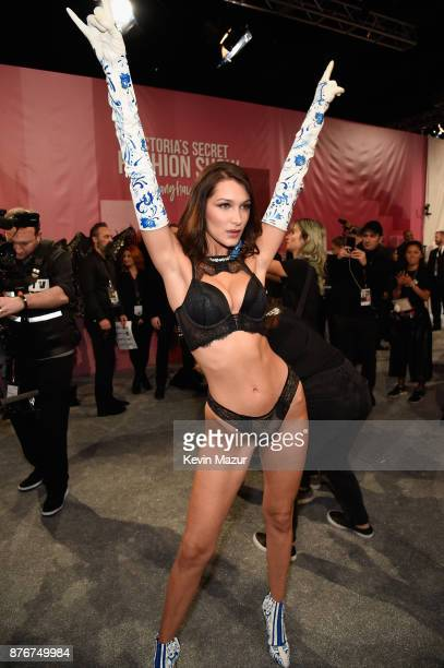 Model Bella Hadid poses backstage during 2017 Victoria's Secret Fashion Show In Shanghai at MercedesBenz Arena on November 20 2017 in Shanghai China
