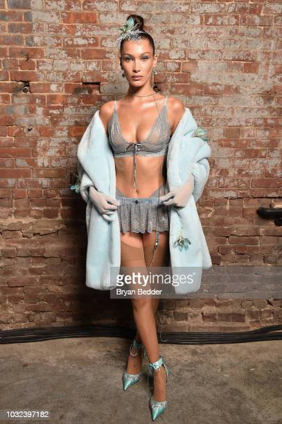 Model Bella Hadid poses backstage for the Savage X Fenty Fall/Winter 2018 fashion show during NYFW at the Brooklyn Navy Yard on September 12 2018 in...