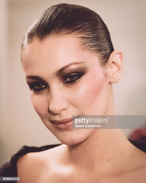 Model Bella Hadid poses backstage prior the Alexandre Vauthier Spring Summer 2018 show as part of Paris Fashion Week on January 23 2018 in Paris...