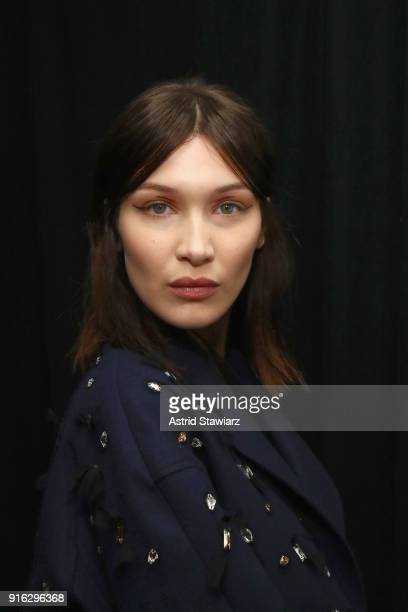 Model Bella Hadid poses backstage with TRESemme At Jason Wu NYFW AW18 on February 9 2018 in New York City