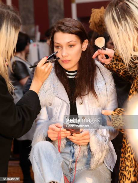 Model Bella Hadid prepares backstage at Sies Marjan during New York Fashion Week on February 12 2017 in New York City