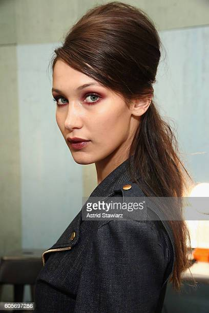 Model Bella Hadid prepares backstage at the Anna Sui fashion show during New York Fashion Week The Shows at The Arc Skylight at Moynihan Station on...