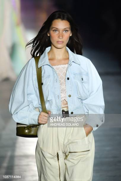 Model Bella Hadid presents a creation by Alberta Ferretti during her Women's Spring/Summer 2019 fashion show in Milan on September 19 2018