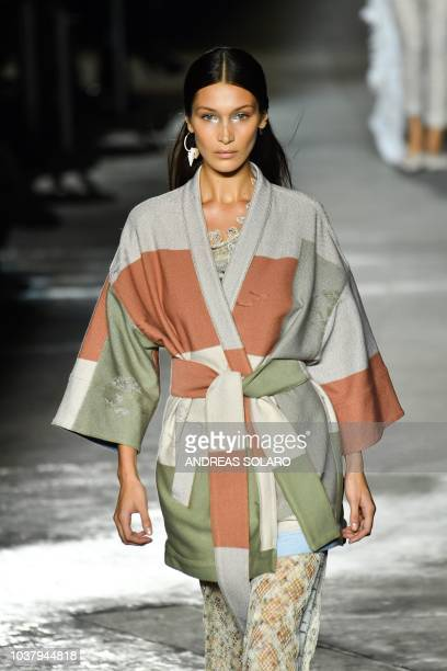 Model Bella Hadid presents a creation during the Missoni fashion show as part of the Women's Spring/Summer 2019 fashion week in Milan on September 22...