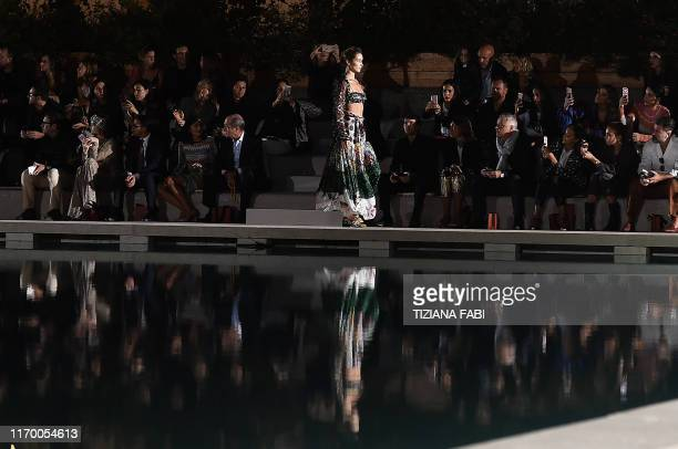 Model Bella Hadid presents a creation during the Missoni Women's Spring Summer 2020 fashion show presented on September 21, 2019 in Milan.