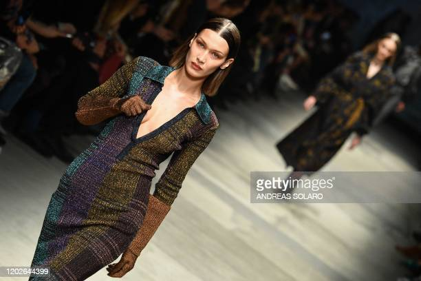 Model Bella Hadid presents an outfit from Missoni Women Fall - Winter 2020 collection on February 22, 2020 in Milan.