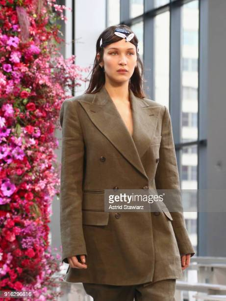 Model Bella Hadid rehearses on the runway with TRESemme At Jason Wu NYFW AW18 on February 9 2018 in New York City
