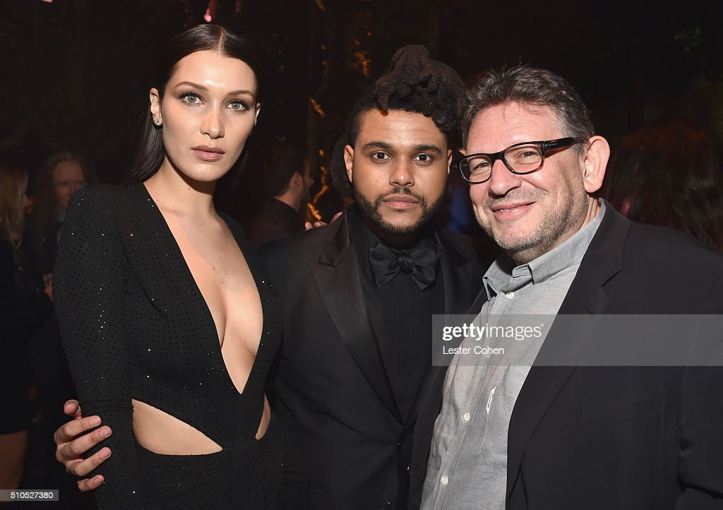 Model Bella Hadid, singer The Weeknd and CBE Chairman and CEO Lucian Grainge attend Universal Music Group 2016 Grammy After Party presented by American Airlines and Citi at The Theatre at Ace Hotel Downtown LA on February 15, 2016 in Los Angeles, California.