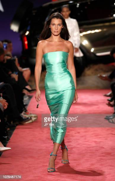 Model Bella Hadid walks the runway at Brandon Maxwell during New York Fashion Week at Classic Car Club on September 8 2018 in New York City