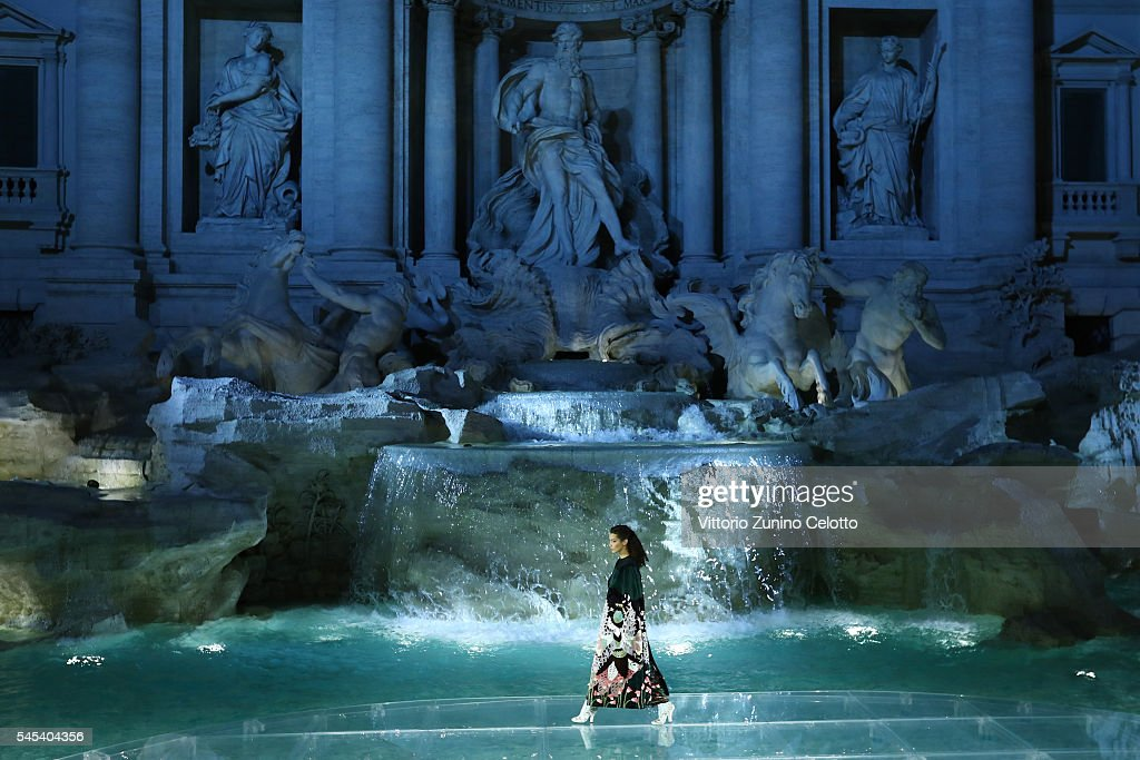 Model Bella Hadid walks the runway at Fendi Roma 90 Years Anniversary fashion show at Fontana di Trevi on July 7, 2016 in Rome, Italy.