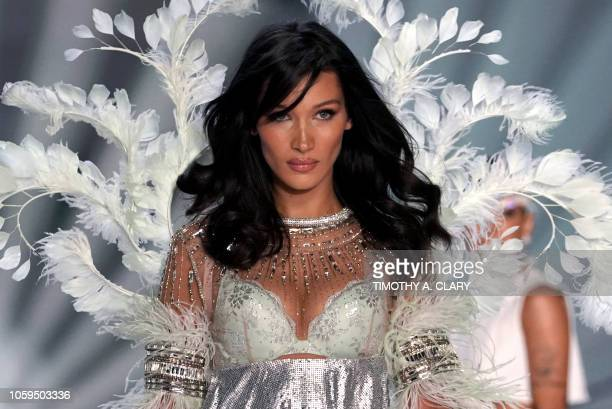 Model Bella Hadid walks the runway at the 2018 Victoria's Secret Fashion Show on November 8, 2018 at Pier 94 in New York City. - Every year, the...