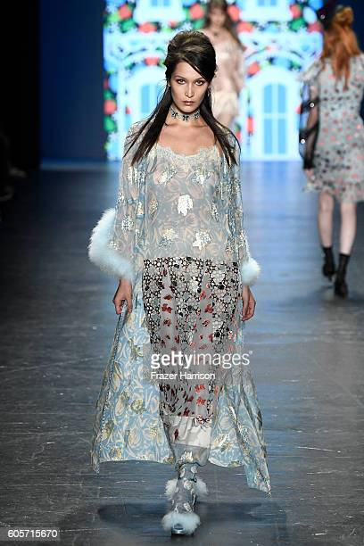 Model Bella Hadid walks the runway at the Anna Sui fashion show during New York Fashion Week The Shows at The Arc Skylight at Moynihan Station on...