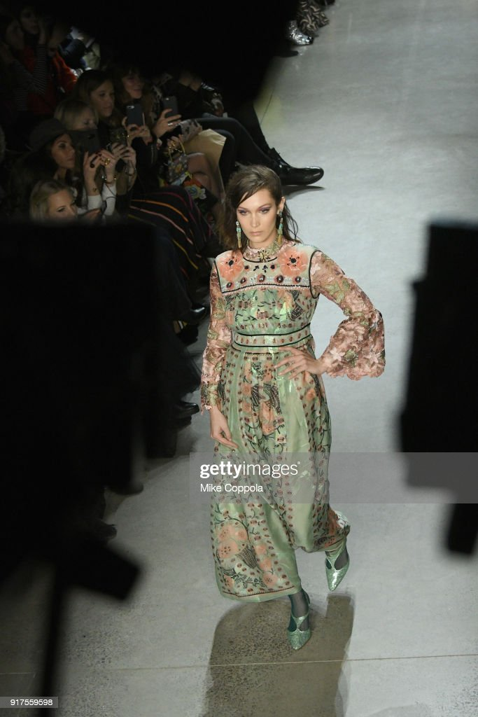 Model Bella Hadid walks the runway at the Anna Sui runway show during