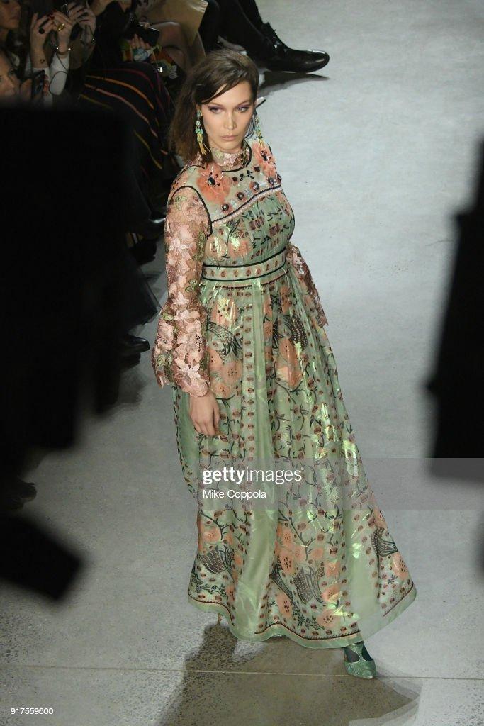 Model Bella Hadid walks the runway at the Anna Sui runway show during