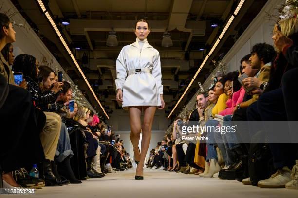 Model Bella Hadid walks the runway at the Brandon Maxwell fashion show during New York Fashion Week on February 09, 2019 in New York City.
