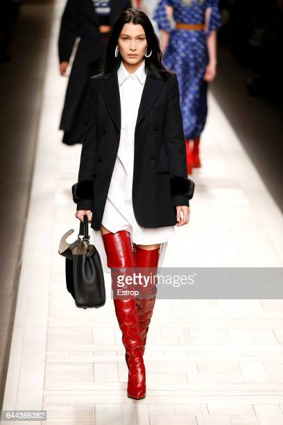 Model Bella Hadid walks the runway at the Fendi designed by Silvia Venturini Fendi Karl Lagerfeld show during Milan Fashion Week Fall/Winter 2017/18...