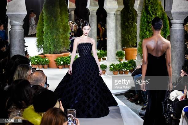 Model Bella Hadid walks the runway at the Oscar de la Renta fashion show during New York Fashion Week on February 12 2019 in New York City