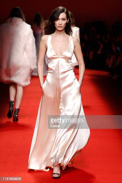Model Bella Hadid walks the runway at the Philosophy Di Lorenzo Serafini show at Milan Fashion Week Autumn/Winter 2019/20 on February 20 2019 in...