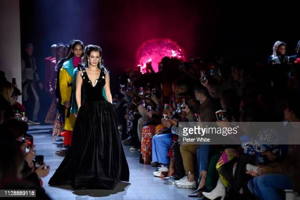 Model Bella Hadid walks the runway at the Prabal Gurung fashion show during New York Fashion Week on February 10, 2019 in New York City.