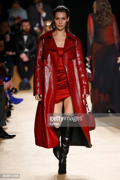 Model Bella Hadid walks the runway at the Roberto Cavalli show during Milan Fashion Week Fall/Winter 2018/19 on February 23 2018 in Milan Italy