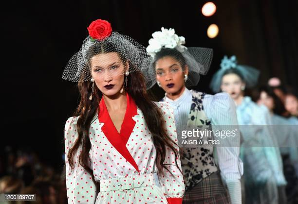 Model Bella Hadid walks the runway at the Rodarte show during New York Fashion Week: The Shows on February 11, 2020 in New York City.