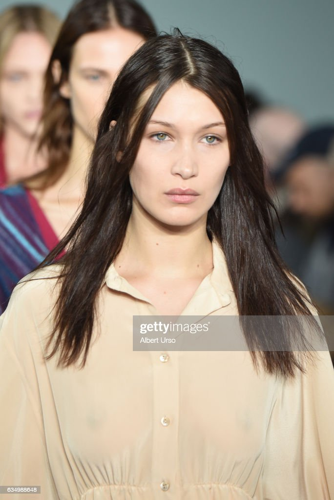 Model Bella Hadid walks the runway at the Sies Marjan fashion show during New York Fashion Week on February 12, 2017 in New York City.