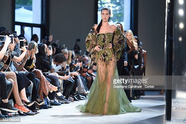Model Bella Hadid walks the runway during the Alexandre Vauthier Prive Haute Couture Fall/Winter 2016-2017 show as part of Paris Fashion Week on July...