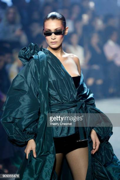 US model Bella Hadid walks the runway during the Alexandre Vauthier Spring Summer 2018 show as part of Paris Fashion Week on January 23 2018 in Paris...