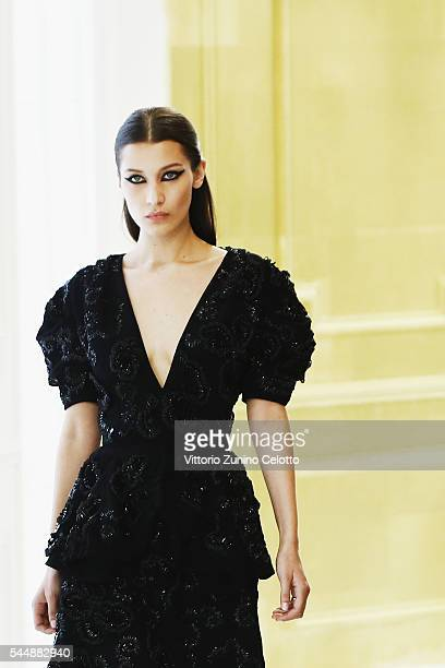 Model Bella Hadid walks the runway during the Christian Dior Haute Couture Fall/Winter 20162017 show as part of Paris Fashion Week on July 4 2016 in...
