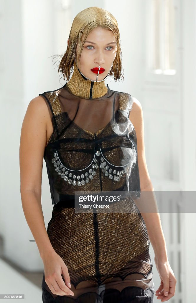 Model Bella Hadid walks the runway during the Maison Margiela Haute Couture Fall/Winter 2017-2018 show as part of Haute Couture Paris Fashion Week on July 5, 2017 in Paris, France.