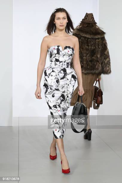 Model Bella Hadid walks the runway during the Michael Kors Collection Fall 2018 Runway Show at Vivian Beaumont Theatre at Lincoln Center on February...