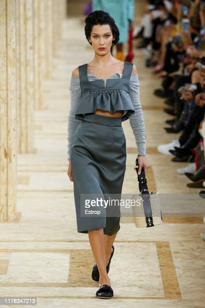 Model Bella Hadid walks the runway during the Miu Miu Womenswear Spring/Summer 2020 show as part of Paris Fashion Week on October 1, 2019 in Paris,...