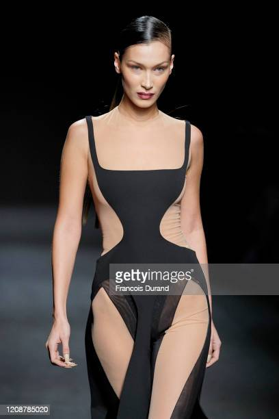 Model Bella Hadid walks the runway during the Mugler show as part of the Paris Fashion Week Womenswear Fall/Winter 2020/2021 on February 26, 2020 in...
