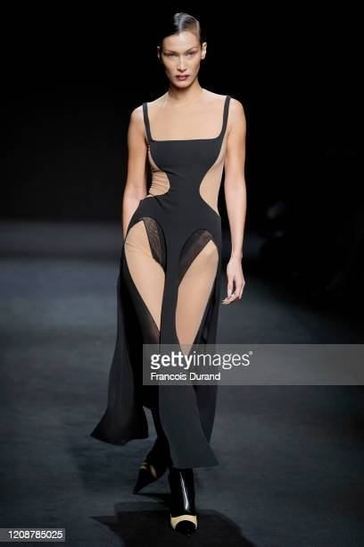 Model Bella Hadid walks the runway during the Mugler show as part of the Paris Fashion Week Womenswear Fall/Winter 2020/2021 on February 26 2020 in...