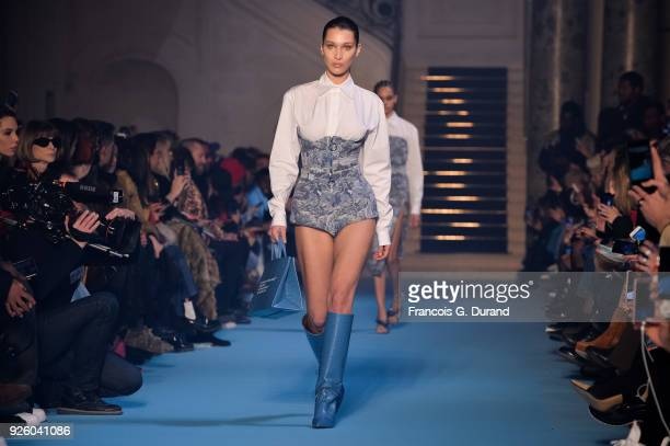 Model Bella Hadid walks the runway during the OffWhite show as part of the Paris Fashion Week Womenswear Fall/Winter 2018/2019 on March 1 2018 in...