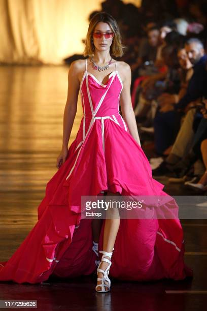 Model Bella Hadid walks the runway during the Off-White Womenswear Spring/Summer 2020 show as part of Paris Fashion Week on September 26, 2019 in...