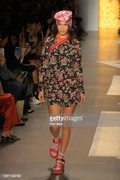 Model Bella Hadid walks the runway for Anna Sui during New York Fashion Week: The Shows at Gallery I at Spring Studios on September 10, 2018 in New...