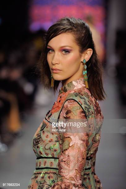 Model Bella Hadid walks the runway for Anna Sui during New York Fashion Week The Shows at Gallery I at Spring Studios on February 12 2018 in New York...