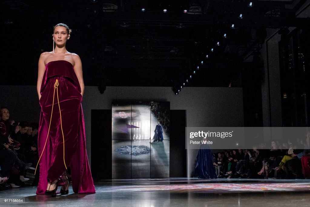 Model Bella Hadid walks the runway for Prabal Gurung during New York Fashion Week: The Shows at Gallery I at Spring Studios on February 11, 2018 in New York City.