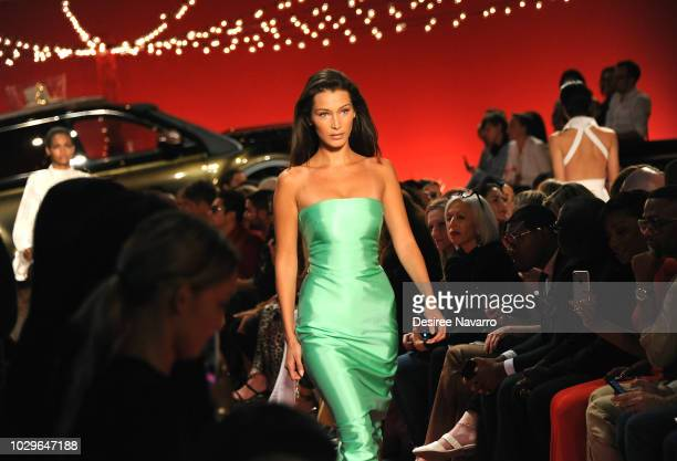 Model Bella Hadid walks the runway for the Brandon Maxwell fashion show during New York Fashion Week at Classic Car Club on September 8, 2018 in New...