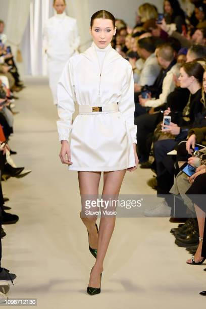 Model Bella Hadid walks the runway for the Brandon Maxwell fashion show during New York Fashion Week: The Shows at Penn Plaza Pavilion on February 9,...