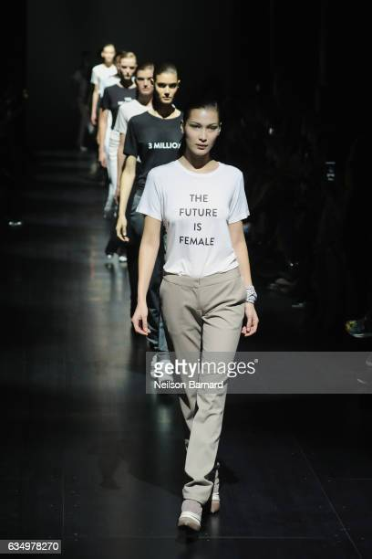 Model Bella Hadid walks the runway for the Prabal Gurung collection during New York Fashion Week The Shows at Gallery 1 Skylight Clarkson Sq on...