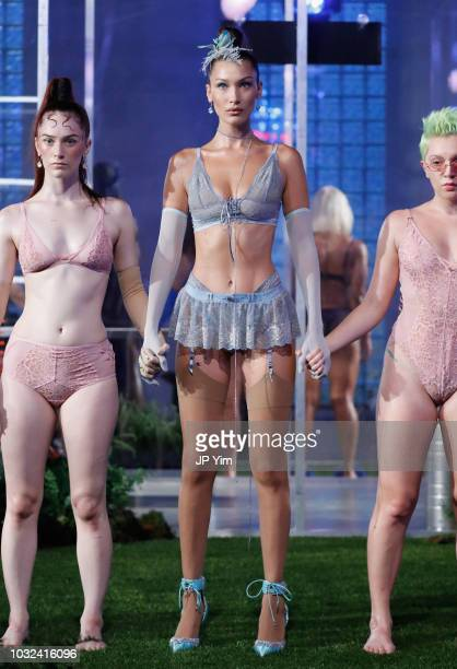 Model Bella Hadid walks the runway for the Savage X Fenty Fall/Winter 2018 fashion show during NYFW at the Brooklyn Navy Yard on September 12 2018 in...