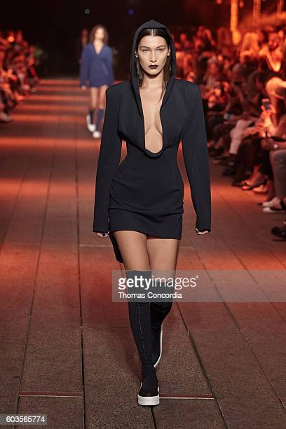 Model Bella Hadid walks the runway wearing DKNY Spring 2017 on the highline during New York Fashion Week on September 12 2016 in New York City