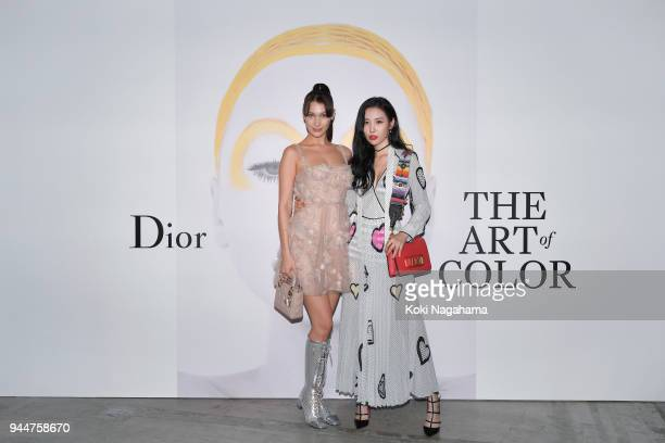 Model Bella Hadidand Sunmi attend Dior's The Art of Color Press Preview on April 11 2018 in Tokyo Japan