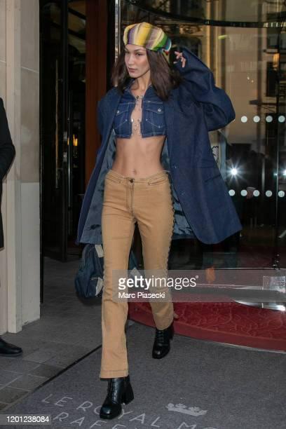 Model Bella Hadidi is seen on January 22 2020 in Paris France