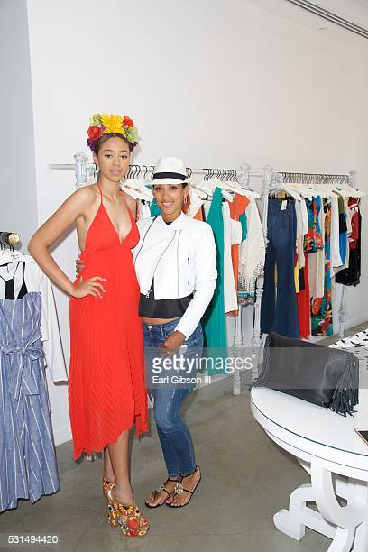 Model Bella Harris and Julie Pierce attend the Alice Olivia Buy A Dress Give A Dress Prom Dress Charity Event Hosted By Model Bella Harris on May 14...