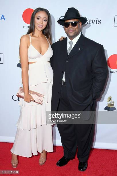 Model Bella Harris and music producer Jimmy Jam attend the Clive Davis and Recording Academy PreGRAMMY Gala and GRAMMY Salute to Industry Icons...